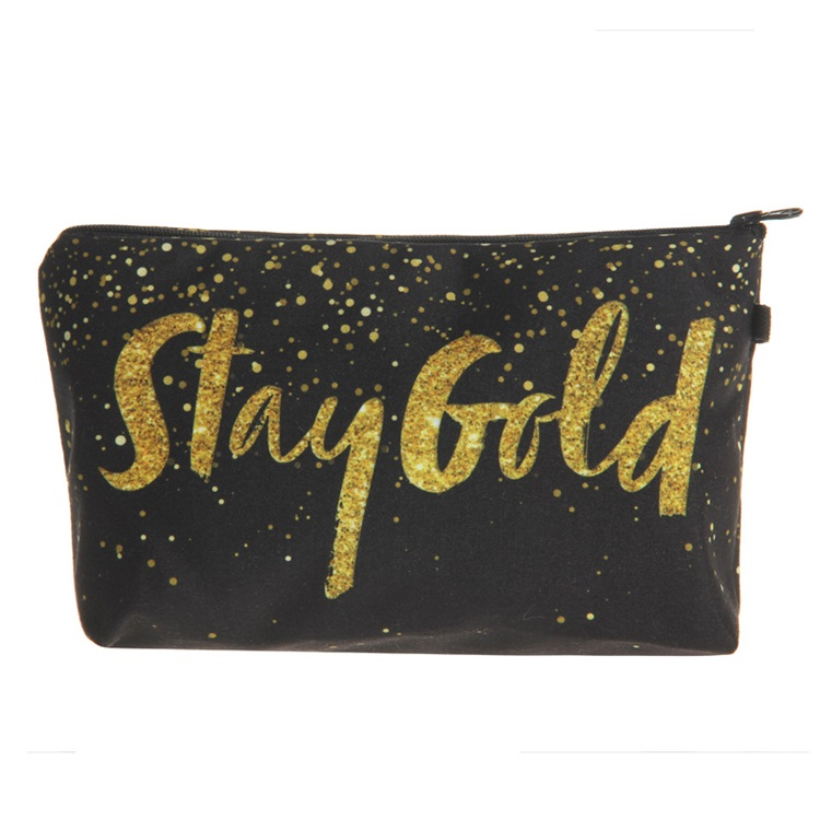 Personalized Lady Women Polyester Glitter Makeup Bags With Zipper