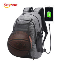 Laptop Backpack Hiking Travel Day pack/ College School Sports Bag with Basketball Net and USB Charging Port for Women/men Fits