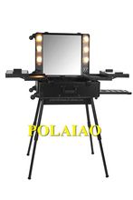 2016 new design lighting makeup station with mirror with stand with led lights aluminum makeup train case