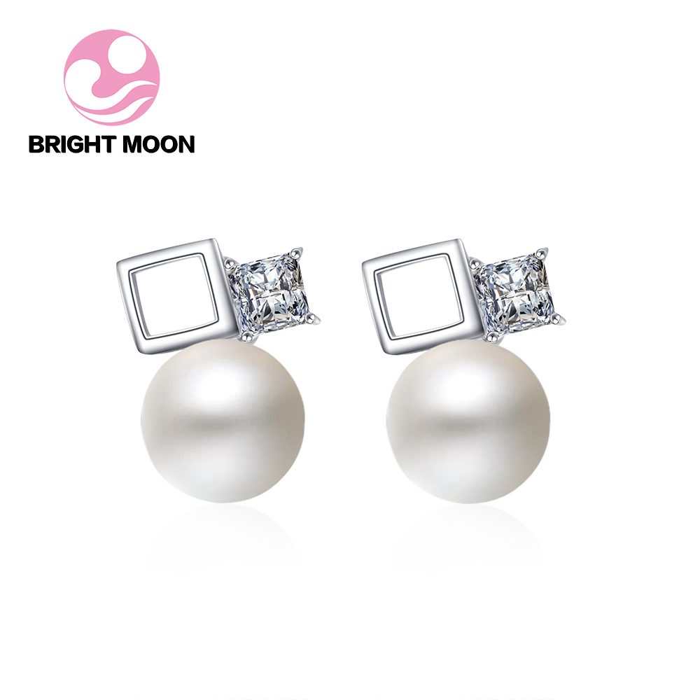 100% Genuine Brand Pearl Jewelry Natural Pearl Earrings For Women And Girls CZ 925 Sterling Silver Stud Earring Gift