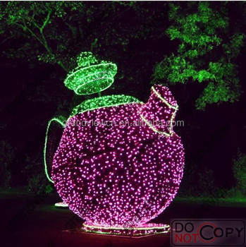 2014 NEW led christmas decoration light 3D teapot for park of alice in wonderland