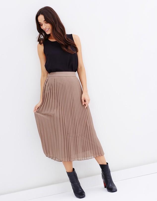 2018 New Pleated Chiffon Midi Skirt Designs for Women
