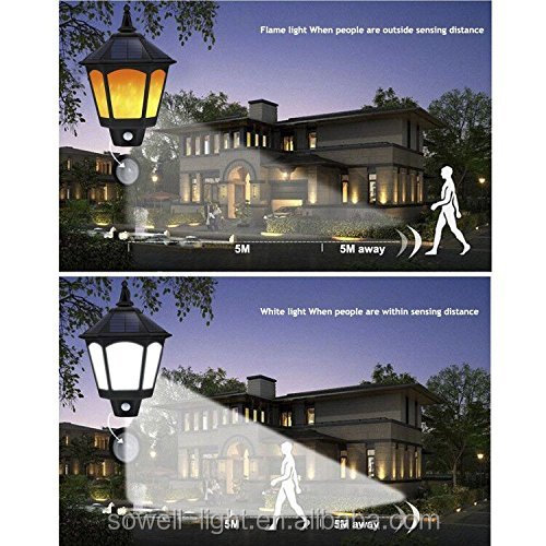 Outdoor garden Porch Patio Yard Deck Stairway driveway motion sensor solar flickering flames light