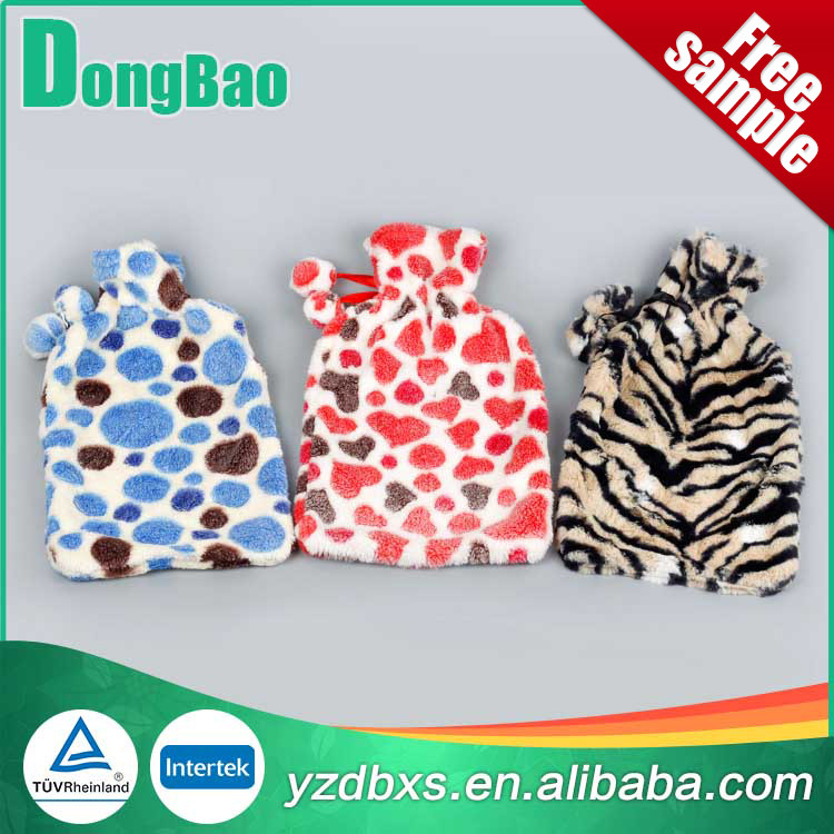 customized pvc transparent soft plush hot water bottle/bag cover tiger polka dots in blue and red and black