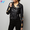 YIHAO Women Classic Motorcycle Jackets Faux Leather PU Zipper Short embroidered Biker Jacket Coat