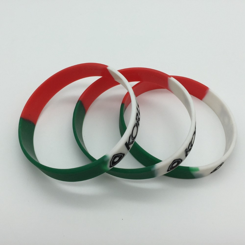 Segment Cheap Custom debossed ink filled rubber bracelets Silicone Wristbands