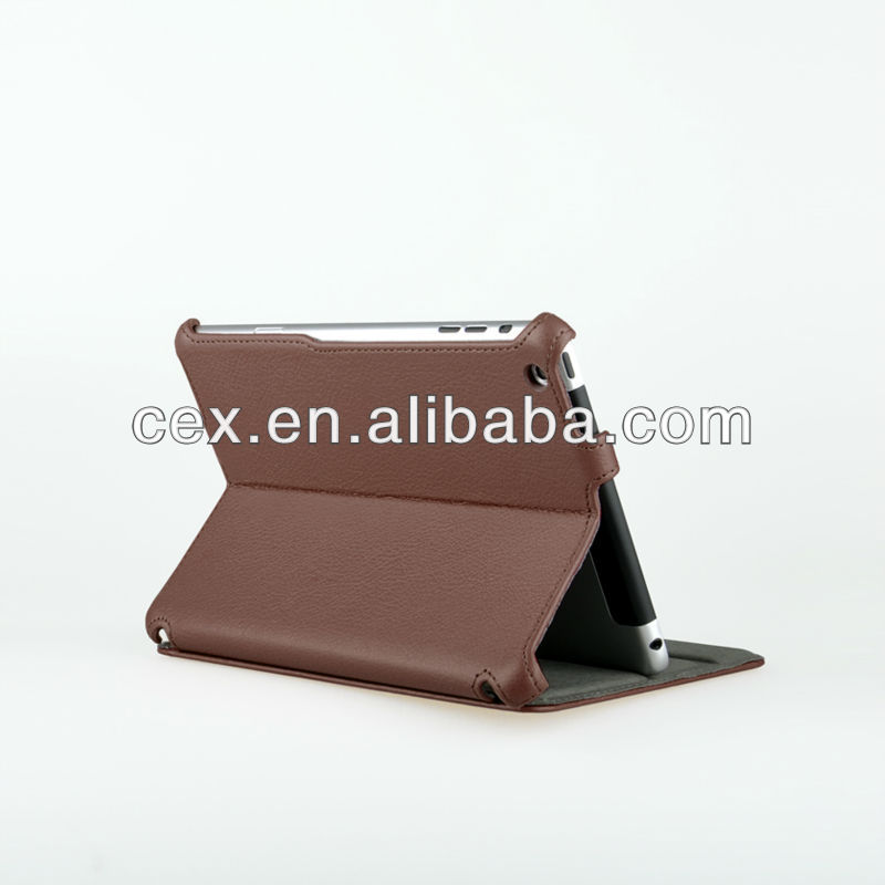 Brown Folio Stand Hard PU Leather Case Cover Stand for iPad Mini 7.9 Inch