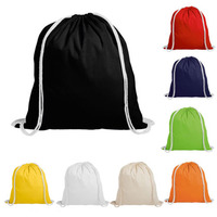 School Gym PE Book Bags Cotton Drawstring Backpack Tote Bag