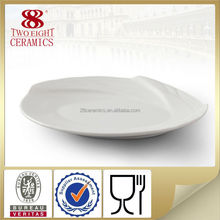 Flat white ceramic porcelain cake plate wavy oval dinner plates hot sale