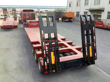 Triple axle low bed tow truck 30-80ton low bed lorry trailer truck for sale