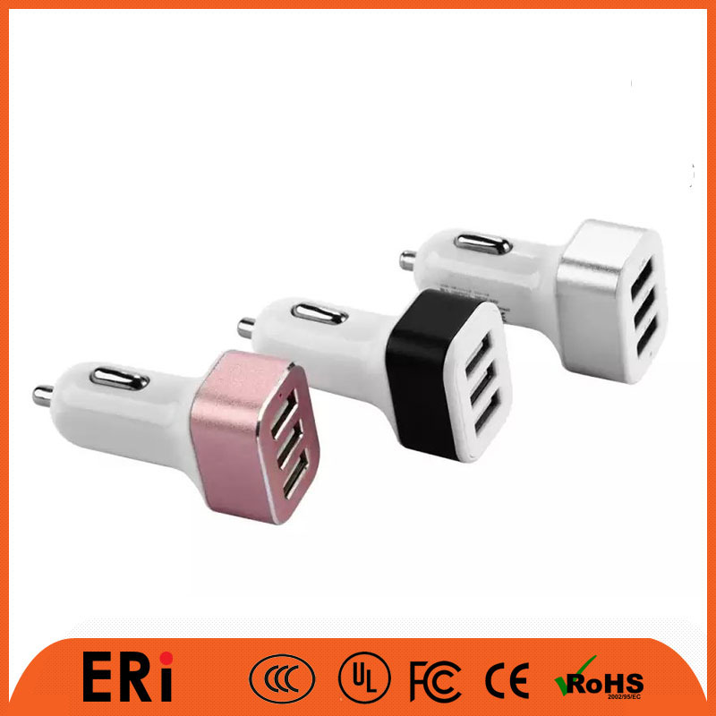 Hot selling high speed car adaptor aluminum multi 3 usb port auto charger with high quality