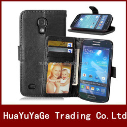 PU flip Wallet ID Card Holder Leather phone cases cover for Samsung Galaxy S4 mini