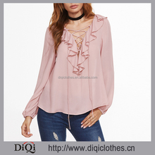 2017 Chic factory price high quality Elegant women Pink Ruffle Trim Lace Up V Neck Blouse