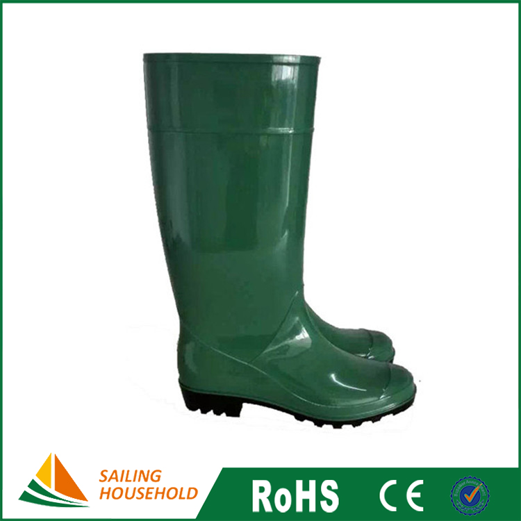 Mining and garden work long pvc rubber green rain boots