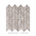 New Arrival Polished Chevron Shaped Wood Light Grain Marble Mosaic