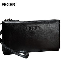 New Plain Men's Business Clutch Purses Bags Genuine Cowhide Leather