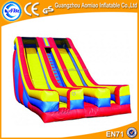 Giant commercial inflatable slide, double lanes curved slide playground slides