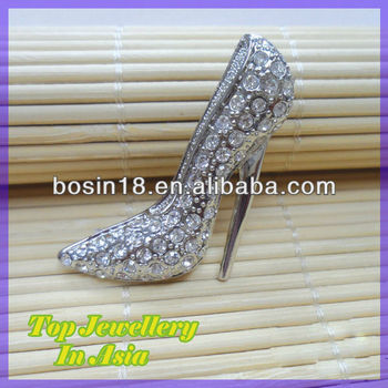 High Heel Shoes Jewelry CZ Diamond Brooch Pin
