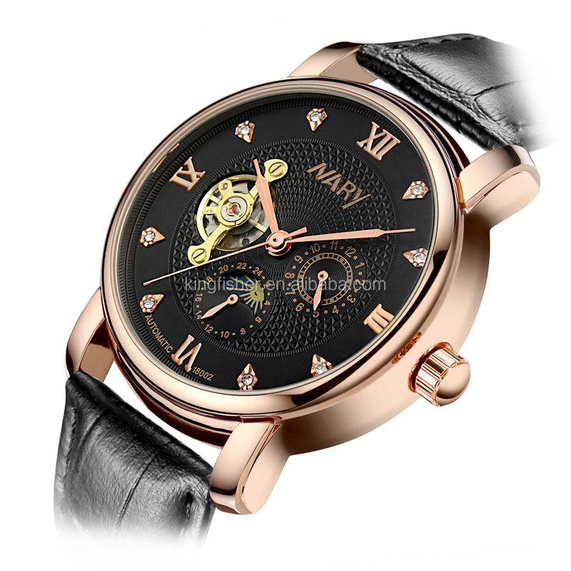Luxury rose gold case genuinel leather strap men watch subdial tourbillon diamond dial watch mechanical stock