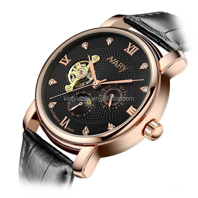 Luxury rose gold case genuinel leather strap men watch subdial tourbillon diamond dial watch mechanical stock