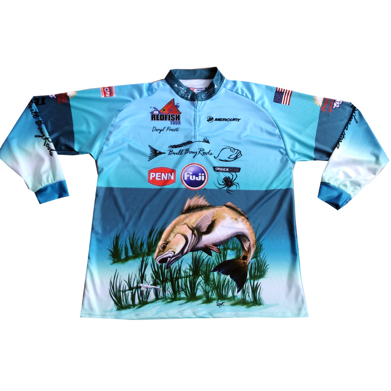 Custom fishing jersey sublimated printed 100 polyester for Polyester fishing shirts