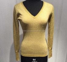 BGAX017 Cotton with lurex V neck slim fitting knitted sweater pullover