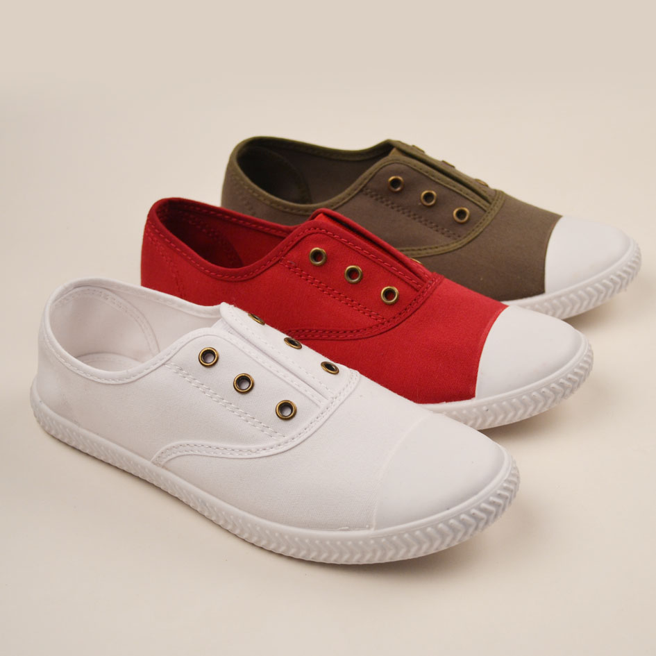 Plain Canvas Shoes Injected Solid Color Polimsolls Slip on Casual Canvas Shoes Cheap