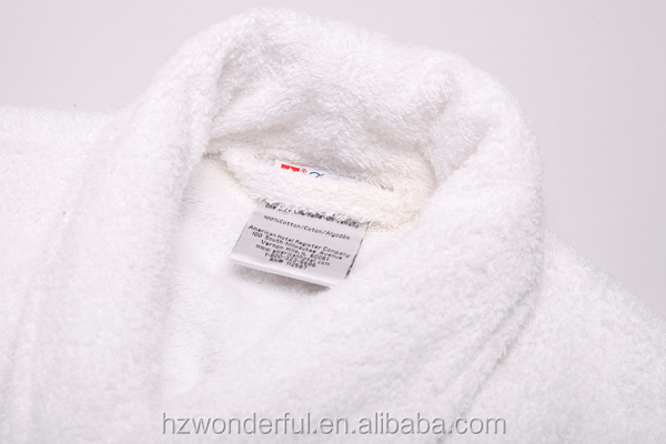 white shawl collar 100% cotton bathrobe