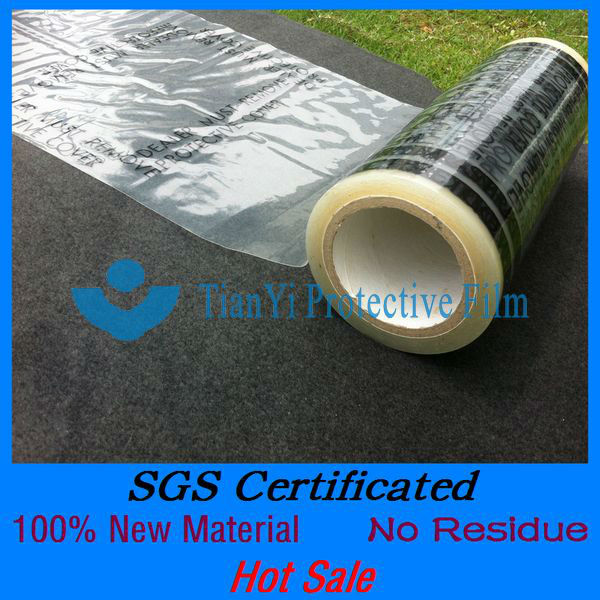 No residue printed transparent pe high adhesion carpet protector cover