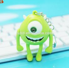Mini monster cartoon shape plastic led flashlight keychain, plastic led animal flashlight keychain, plastic type keychain