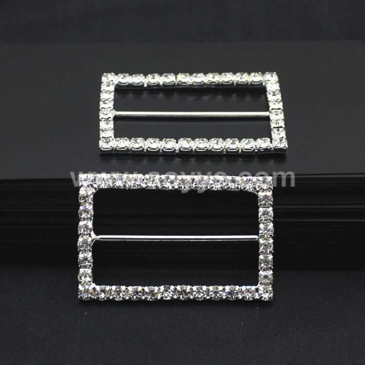 Wholesale top quality decoration vintage diy shiny clear crystal rectangle rhinestone ribbon slide buckles for wedding chair