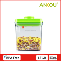 New Design One Touch Button 1700ml Rectangle Plastic AS Food Storage Container
