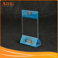 Deluxe Freestanding Crystal Clear Acrylic Table Card Sign Holder / Menu or Ad Display Stand