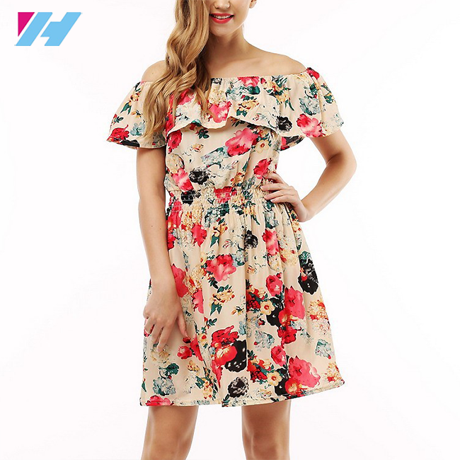 Wholesale 2017 summer plus size off-shoulder lady dress fashion different print woman dress