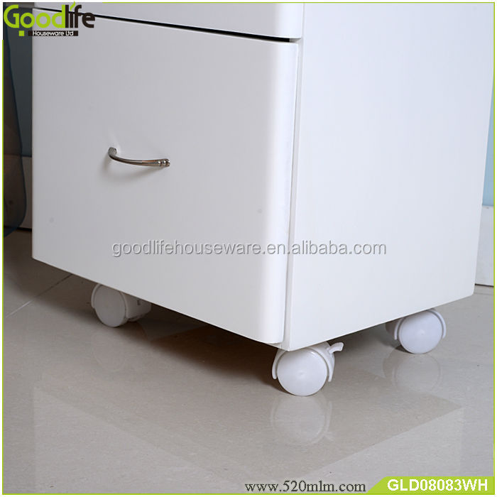 MDF cabinet flexible wooden make up organizer with wheels