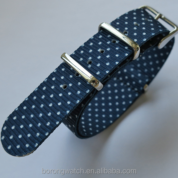 Small round dots pattern nato woven watch strap with gloss stainless steel hardwares