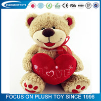 2016 hot valentine love heart teddy bear stuffed plush toy custom