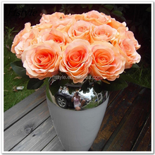 China Giant Decorative Artificial Flower 9 Heads Princess Silk Rose for Wedding FZH065
