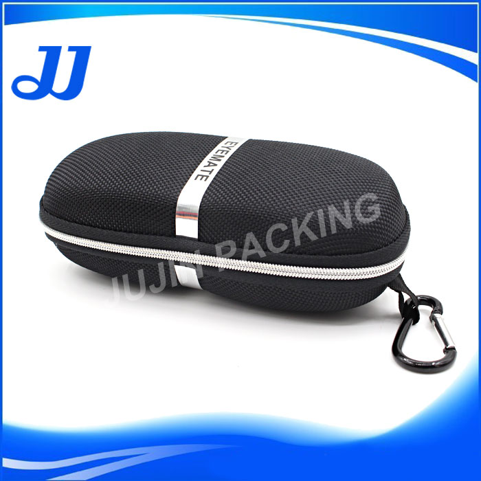 High quality polyester cover eva sunglass case packing box set for polarized glasses with clip