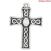 Charm Pendants Cross Antique Silver Pattern Carved 25x18mm