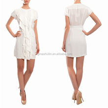 ladies fashion new summer white chiffon Short Sleeves dress