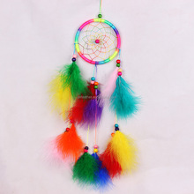 Wholesale handmade Indian Beautiful Feather Dream Catcher Wind Chime for Car or home decoration