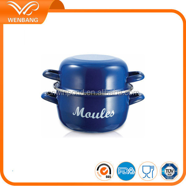 Different sizes multi-functional enamel pot, sea food cooking cast iron granite stone cookware