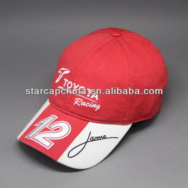 CUSTOM WASHED COTTON RACING BASEBALL CAP WITH EMBROIDERY LOGOS