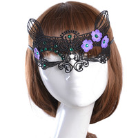 Gothic style butterfly purple flower black lace mask