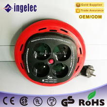 Yiwu jinmin ingelec Multiple extension socket roll outlet 4way on-off switch 5m cable portable plug and socket for french type