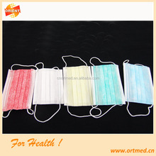 Disposable flat face mask with tie on