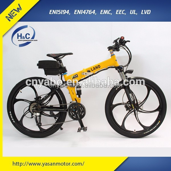 "6061 Aluminum alloy 26"" 500W Hummer Folding E Bicycle with Integrated wheels"