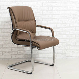 PU leather staff office chair with metal armrest for meeting