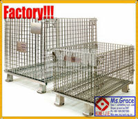 Foldable Metal Stillages/Stacking Wire Mesh Pallet Stillages/wire mesh container cage basket crate